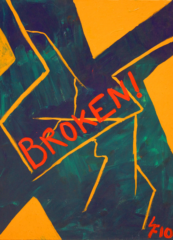 Broken, et  værk af Søs F. i Helsinge. Akryl på lærred 80 x 100 cm